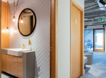 Office-Refurbishment-Toilet-HiMacs-Vanity Unit-Oak-Door-Bespoke