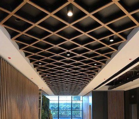Public Area, Ceiling, Oak, Slat, Steel, Bespoke, Public Area, Office