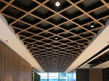 Office Space-Oak-Slats-Living-Wall-Public Area-Reception-Desk-Lift Area-Metal-Cladding
